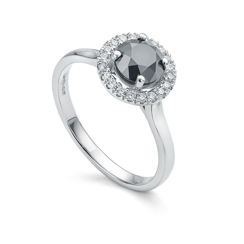 Average ring size engagement ring with black diamond