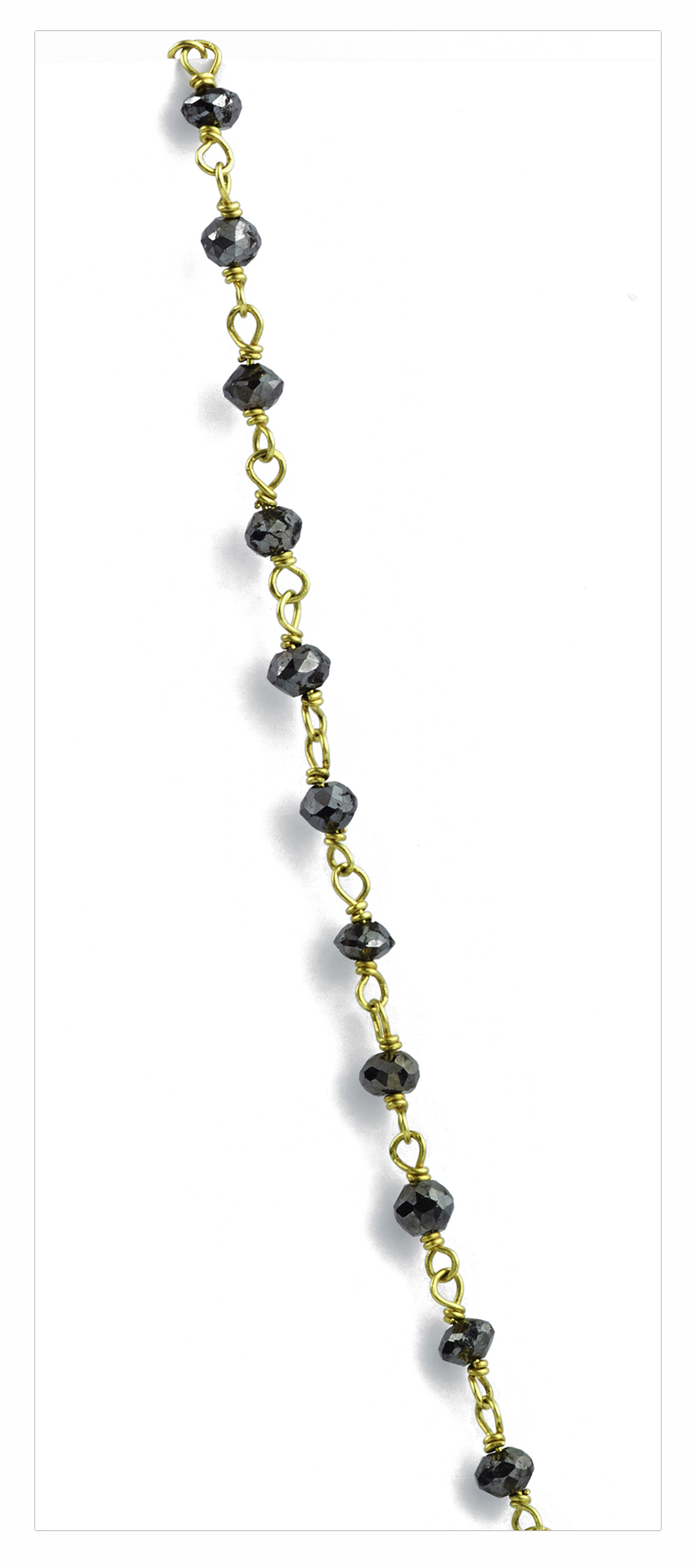 Rough Black Diamond Necklace in Yellow Gold