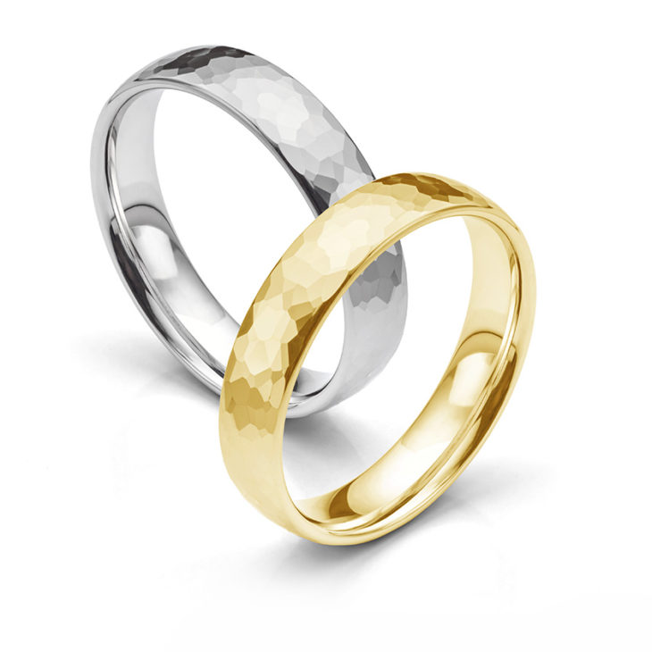 Hammered wedding rings - featuring white gold and yellow gold planished rings