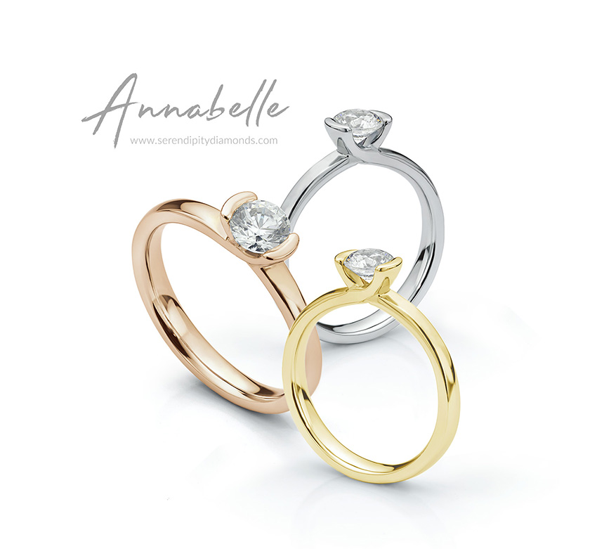 Annabelle tension set round diamond ring