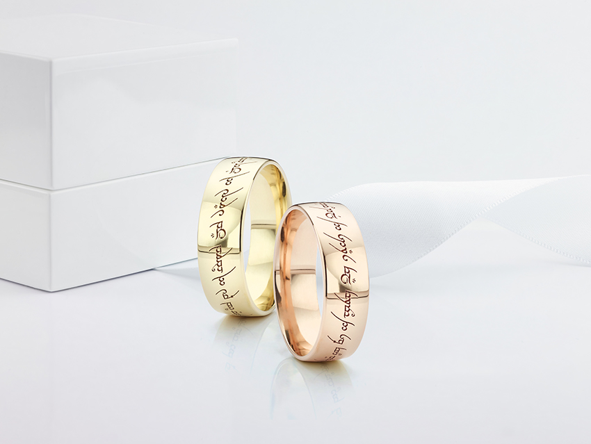 Gold lord of the rings wedding rings in yellow and rose gold