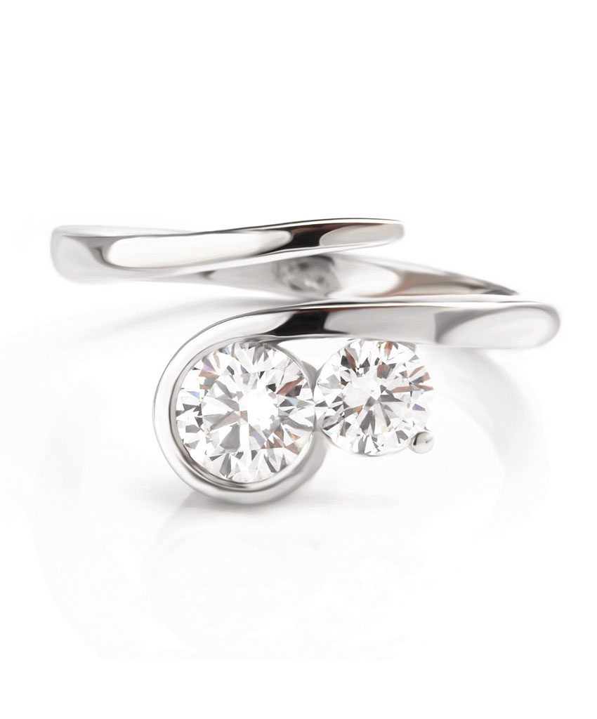 Two stone bypass diamond ring
