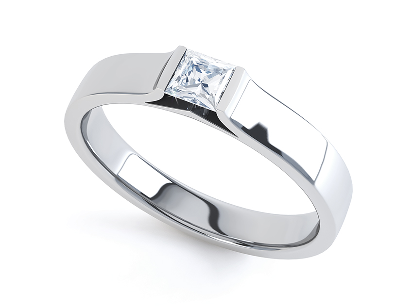 Alexa princess cut ring one of our most popular tension set engagement rings holding a square diamond