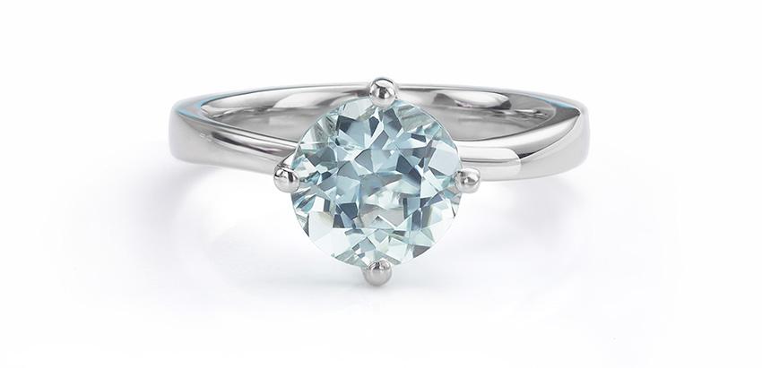 Twist engagement ring set with Aquamarine