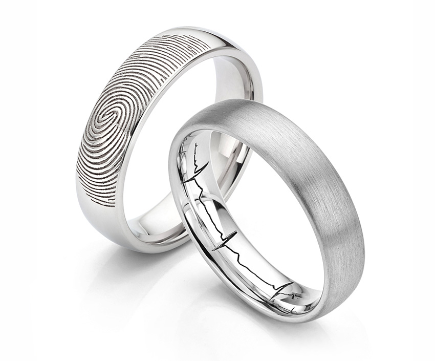 Optional engravings for the ashes ring include heartbeats or fingerprint engravings