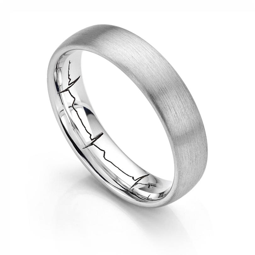 Mens Platinum heartbeat wedding ring from Serendipity Diamonds