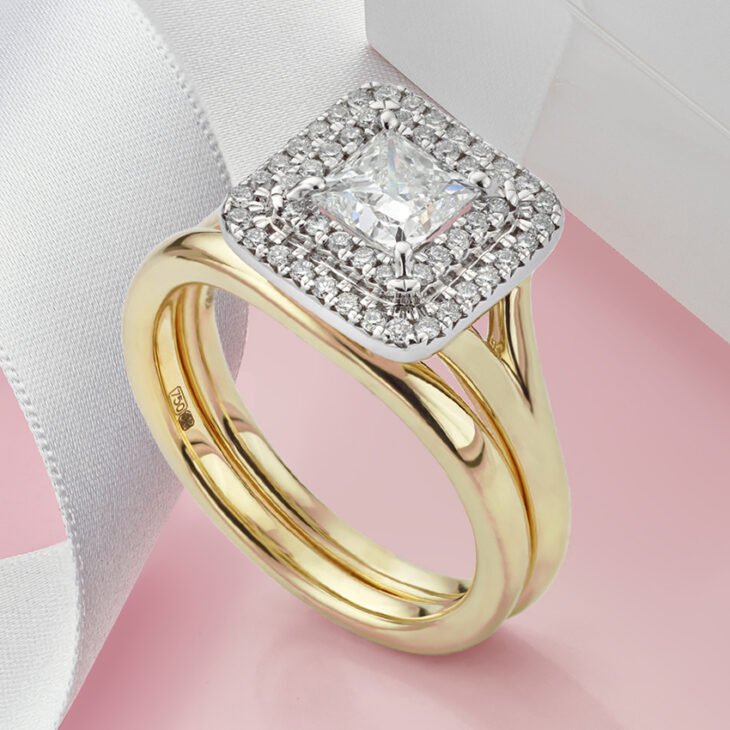 halo ring in yellow gold with double halo setting