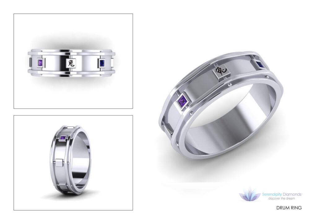 Snare drum mens engagement rings