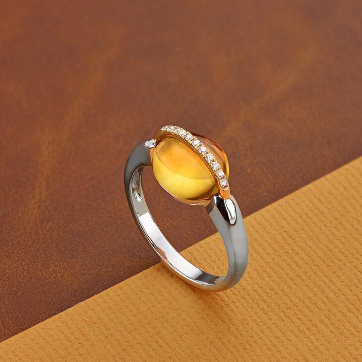 November birthstone ring with Citrine and diamonds