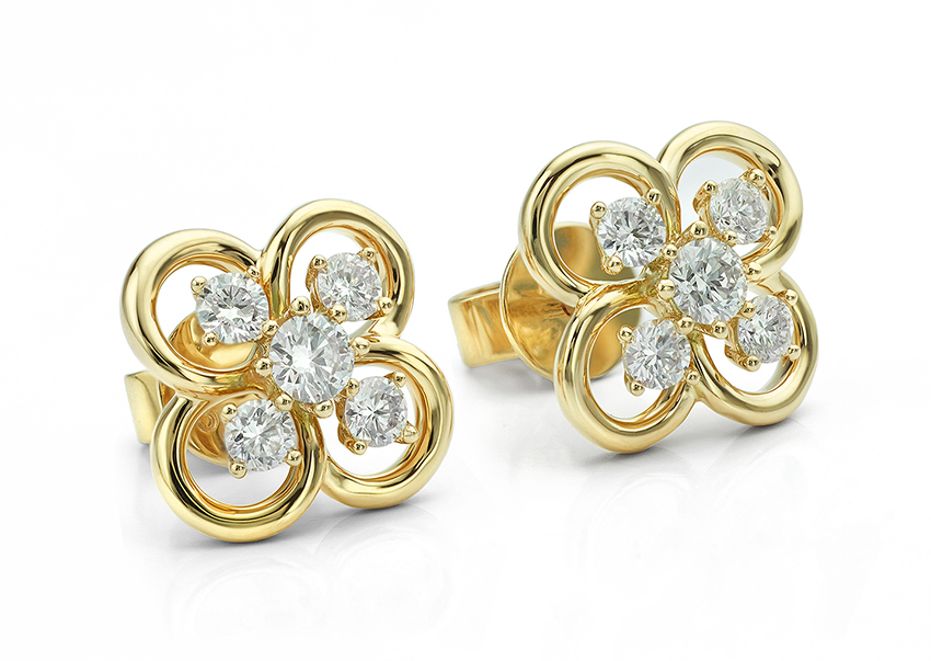Blossom yellow gold diamond earrings