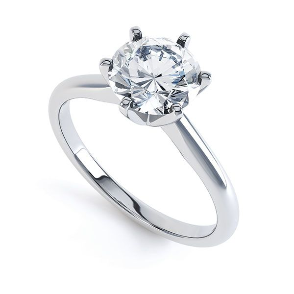 6 Claw Open Solitaire Diamond Engagement Ring  Main Image