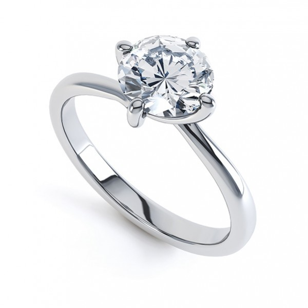Twist Diamond Engagement Ring with Four Claw Setting