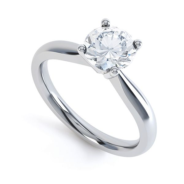 Perfect Four Claw Round Solitaire Engagement Ring Main Image
