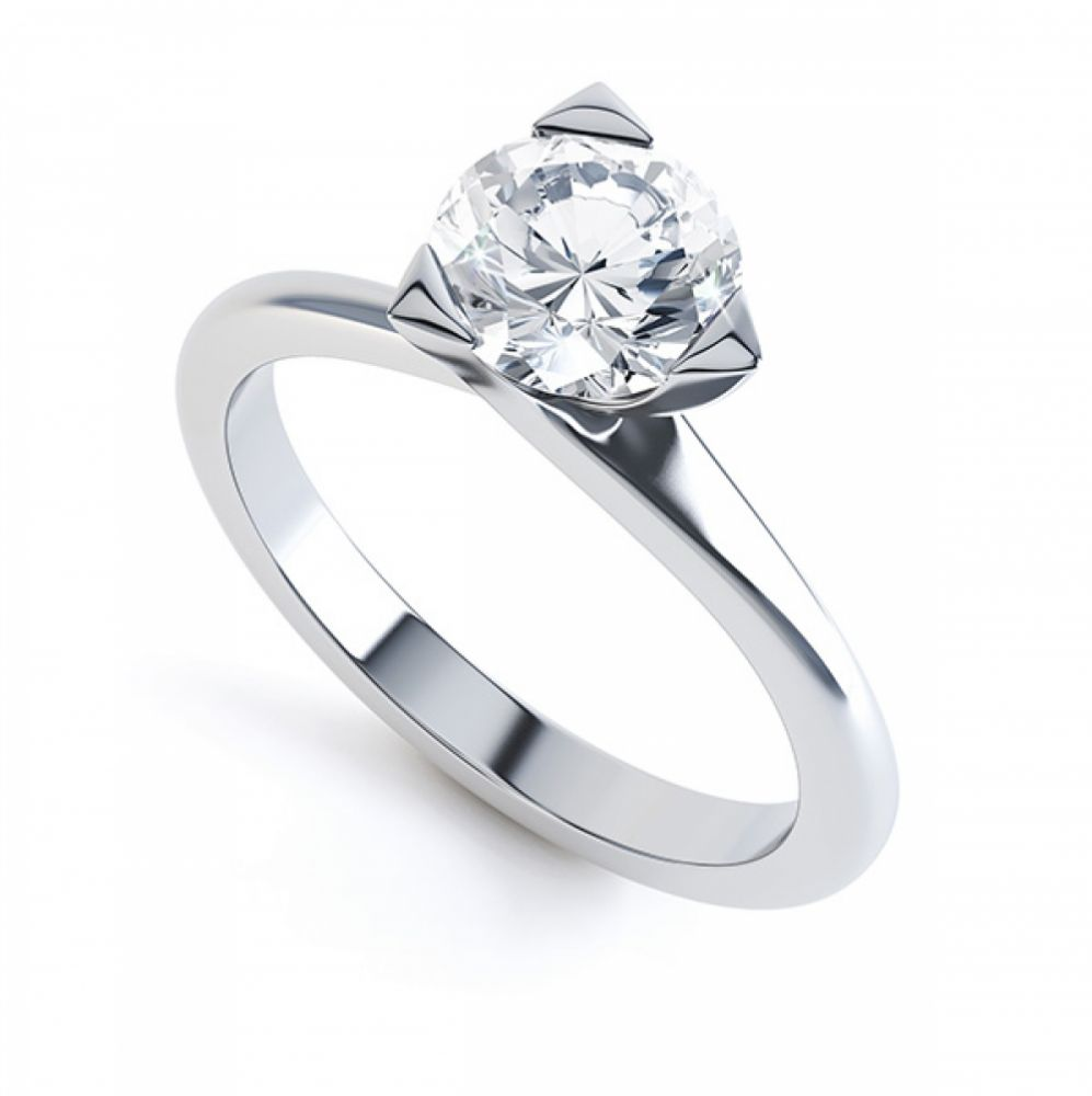 Three Claw Solitaire Diamond Engagement Ring