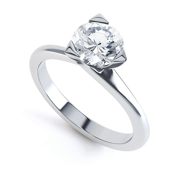 Three Claw Solitaire Diamond Engagement Ring Main Image