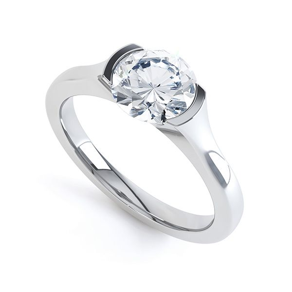 Modern Open Part Bezel Solitaire Diamond Engagement Ring Main Image