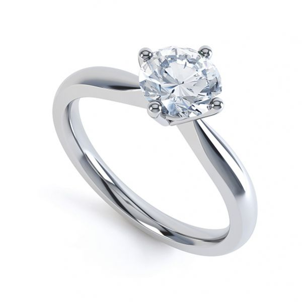 Compass Set Four Claw Round Solitaire Diamond Ring Main Image
