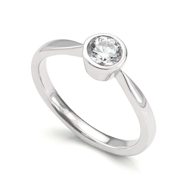 Bezel Set Round Diamond Solitaire Engagement Ring Main Image