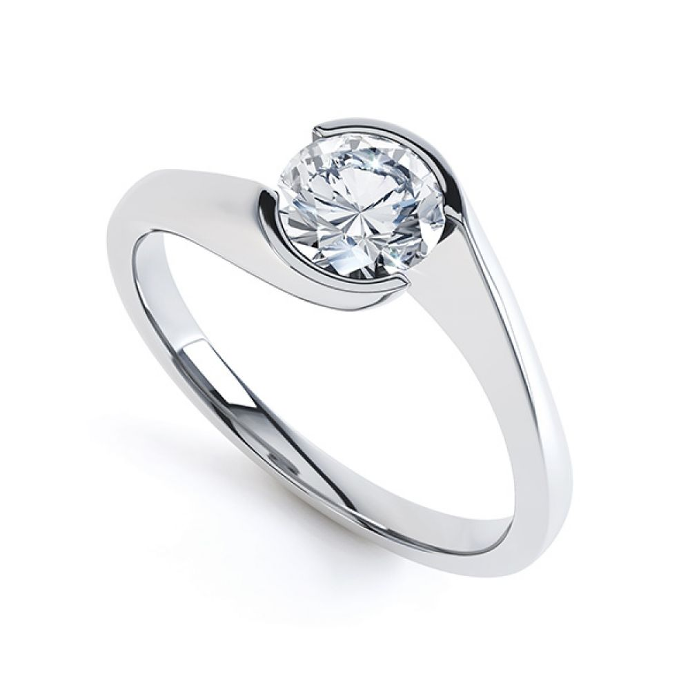 Crossover Bezel Round Solitaire Engagement Ring