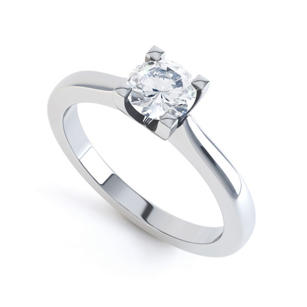 Squared 4 Claw Round Diamond Solitaire Ring