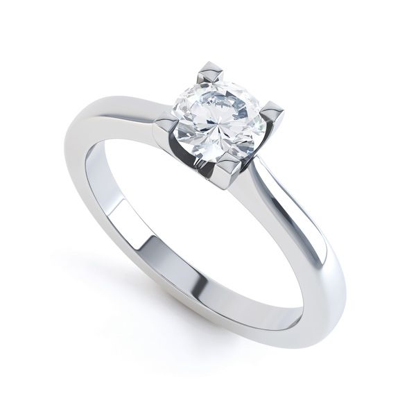 Squared 4 Claw Round Diamond Solitaire Ring Main Image