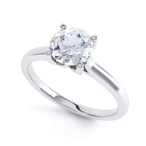 Simple 4 Claw Diamond Engagement Ring Main Image