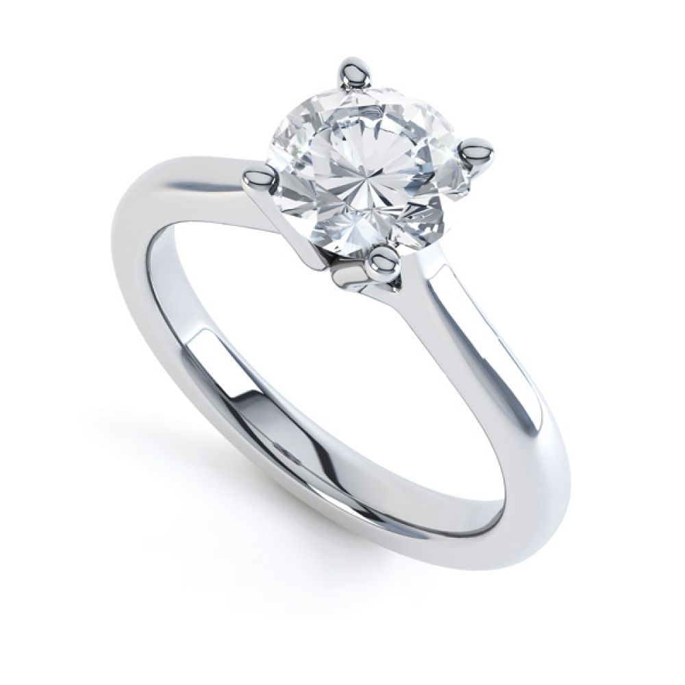 Swan Neck 4 Claw Round Diamond Engagement Ring