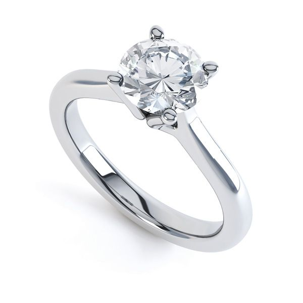 Swan Neck 4 Claw Round Diamond Engagement Ring Main Image