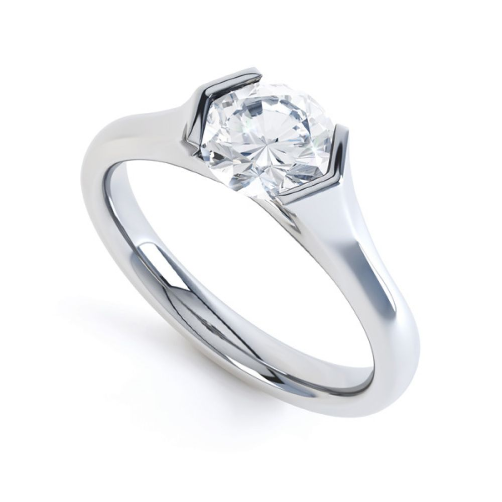 V Shaped Part Bezel Diamond Engagement Ring