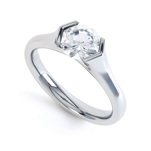 V Shaped Part Bezel Diamond Engagement Ring Main Image