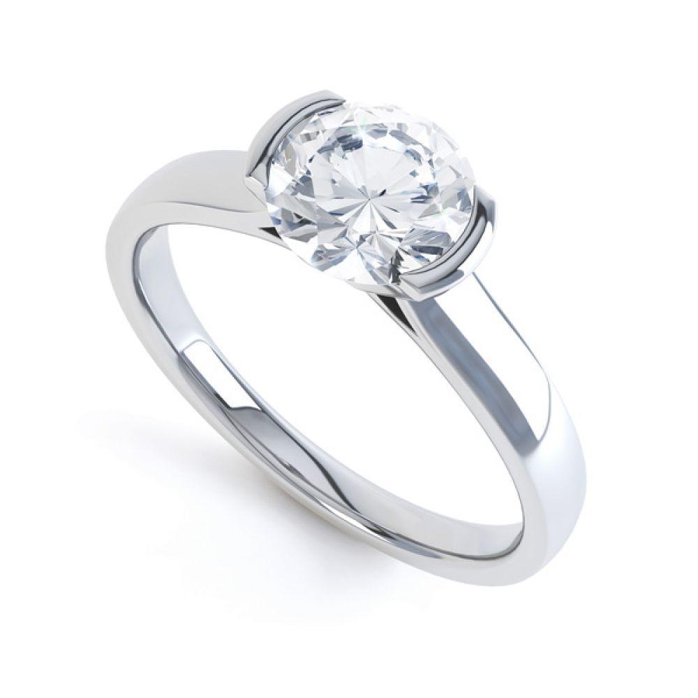 Round Diamond Solitaire Ring Tension Set