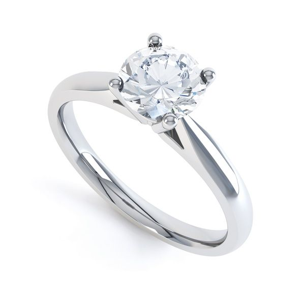 4 Prong Diamond Solitaire Ring with Open Shoulders Main Image