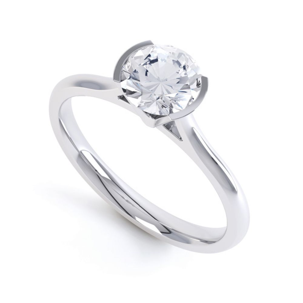 Fluted Part Engagement Ring with High Setting