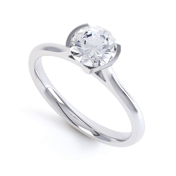 Fluted Part Engagement Ring with High Setting Main Image