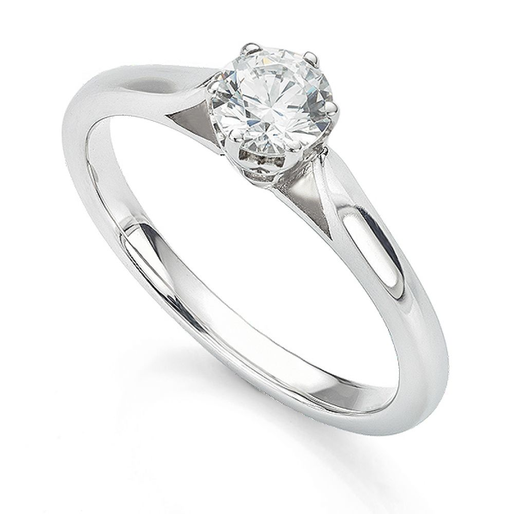 6 Claw Crown Set Round Solitaire Engagement Ring