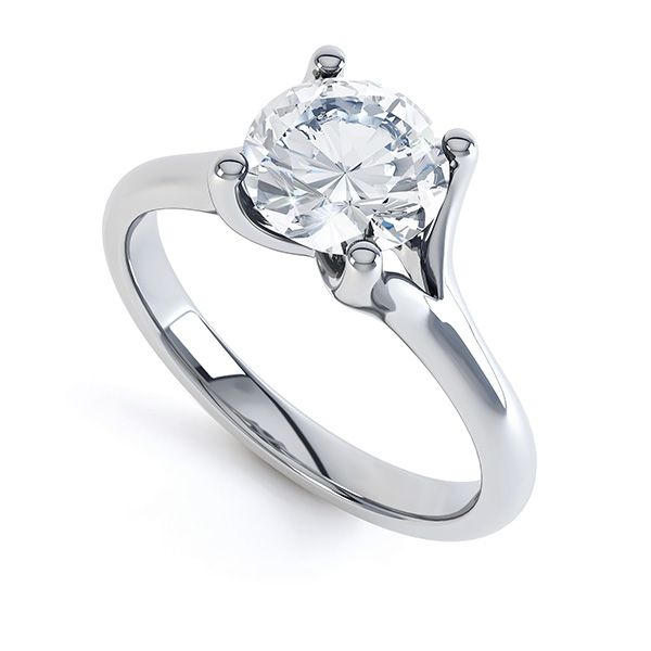 Forked Shoulder 4 Claw Solitaire Diamond Ring Main Image