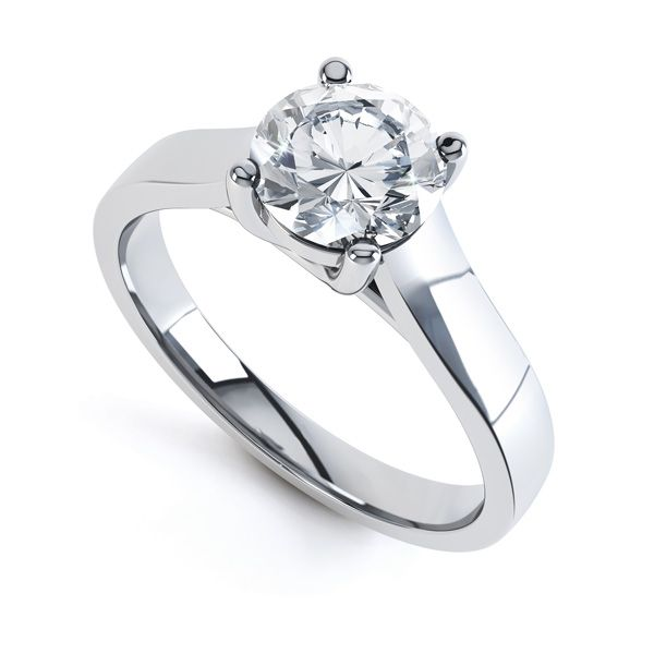 Elegant Round Solitaire with Cross-Over 4 Claw Setting Main Image