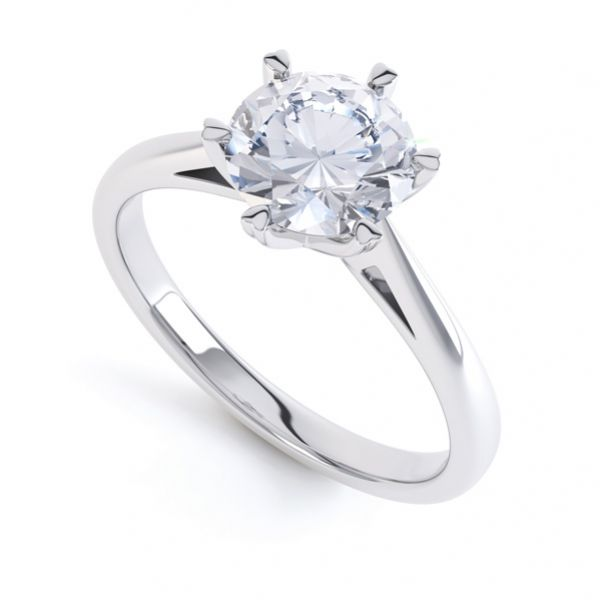 Round Solitaire with 6 Heart Shaped Claw Setting Main Image