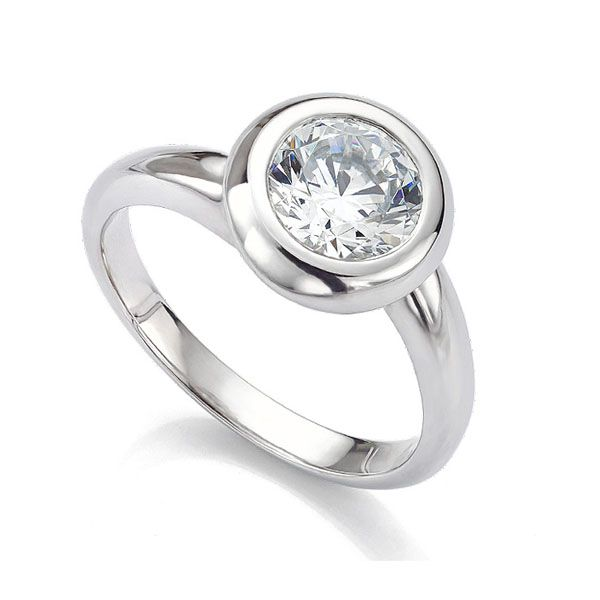 Domed Bezel Round Solitaire Twist Engagement Ring Main Image