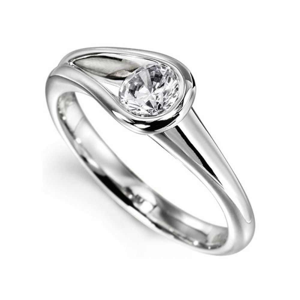Loop Bezel Round Solitaire Engagement Ring - White perspective