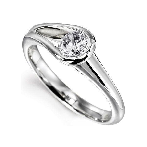 Loop Bezel Round Solitaire Engagement Ring Main Image
