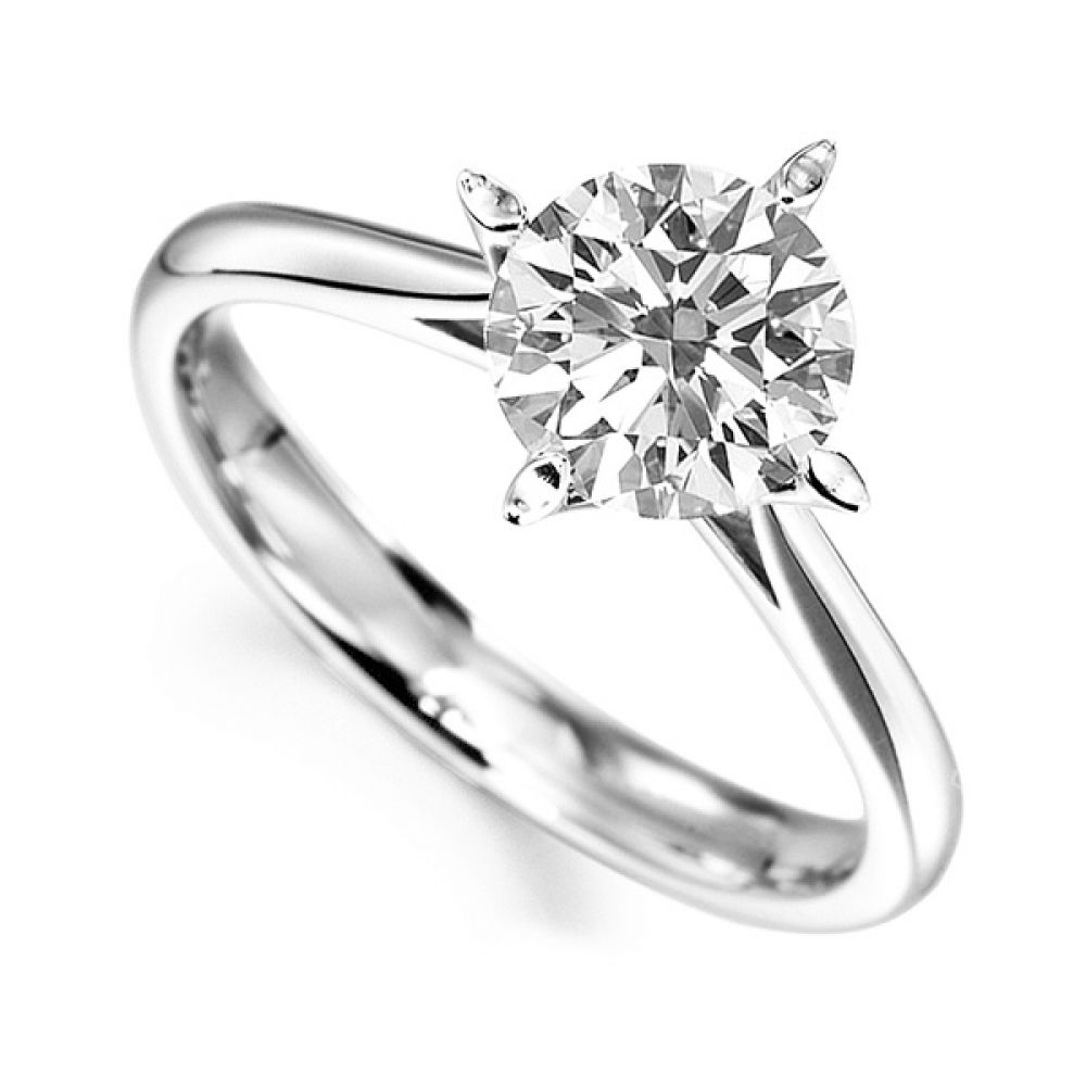 Flared 4 Claw Round Solitaire Diamond Engagement Ring