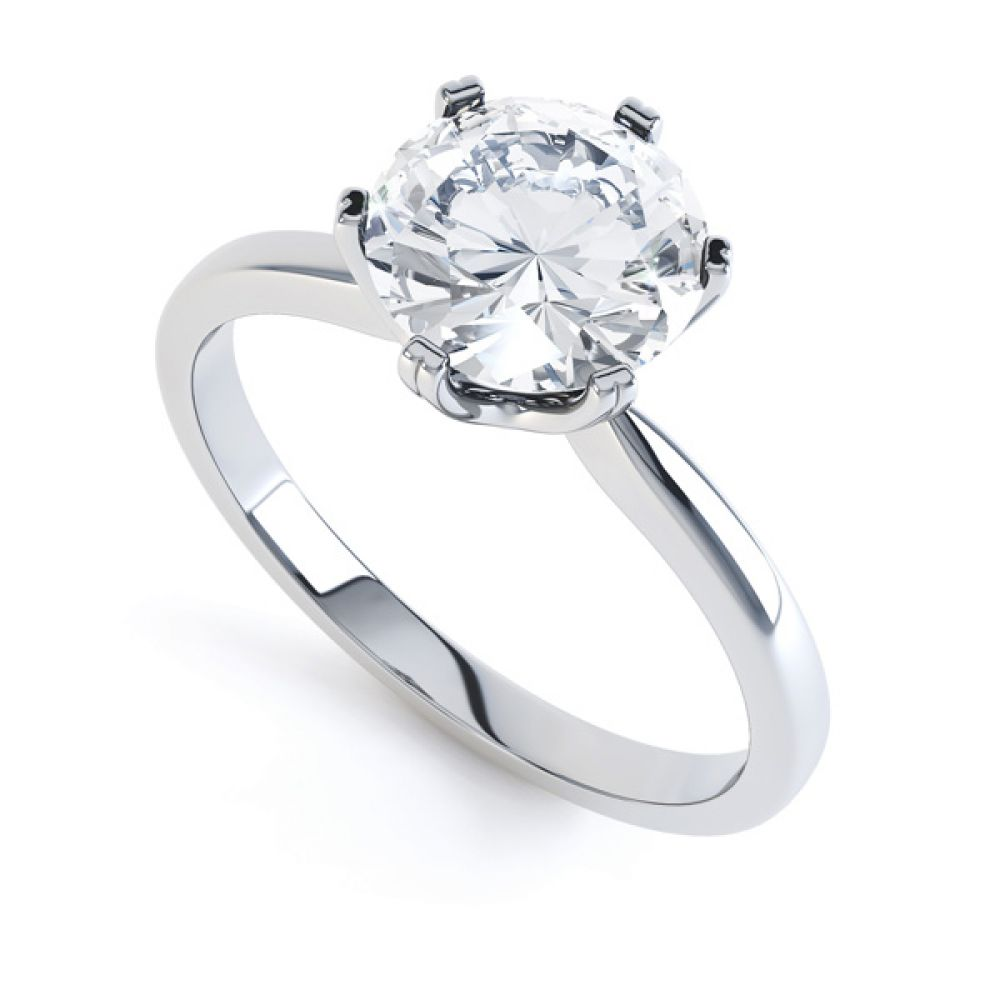 Tiffany style solitaire R1D077 front view white gold