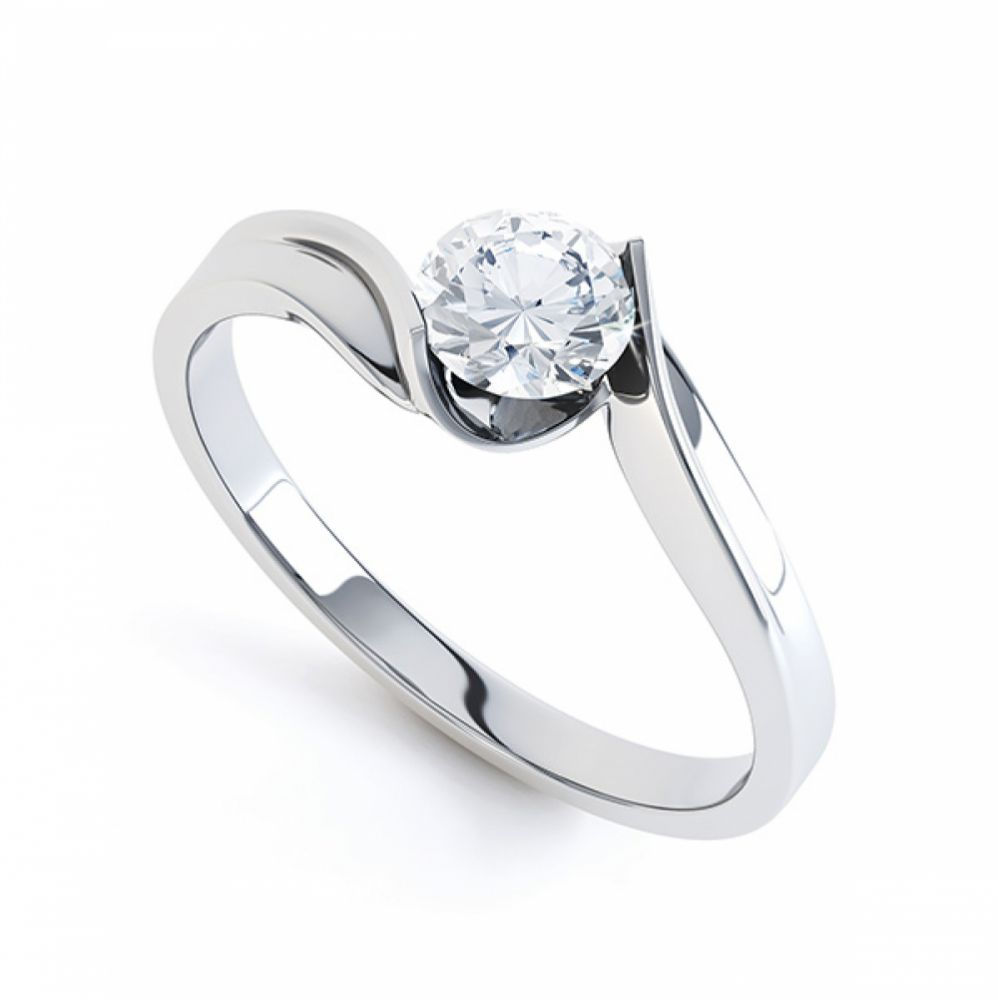 Tension Set Twist Round Solitaire Engagement Ring