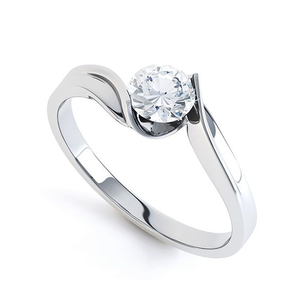 Unity Diamond Engagement Ring Featuring An Open Tension Style Twist Setting