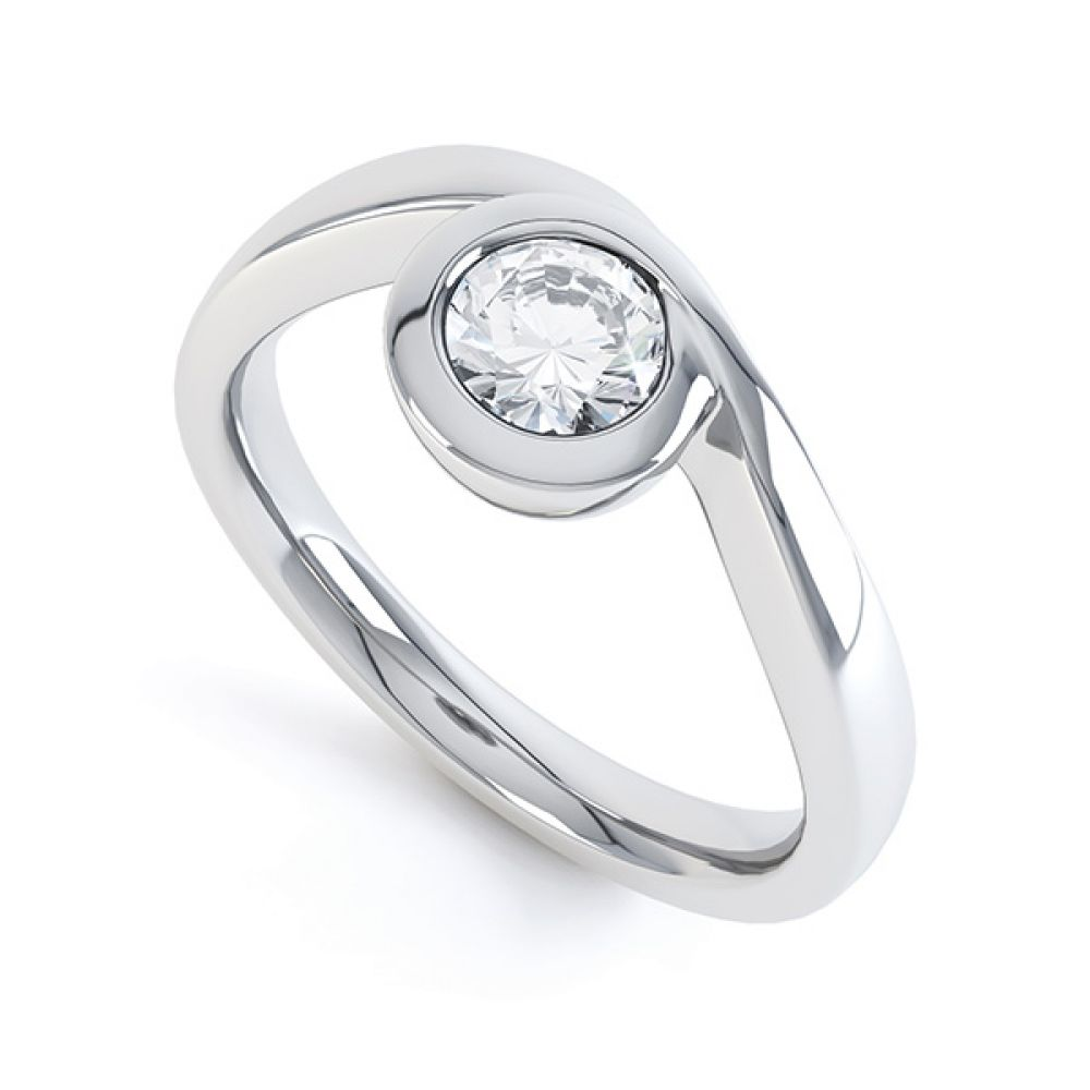 Asymmetrical Full Bezel Diamond Engagement Ring