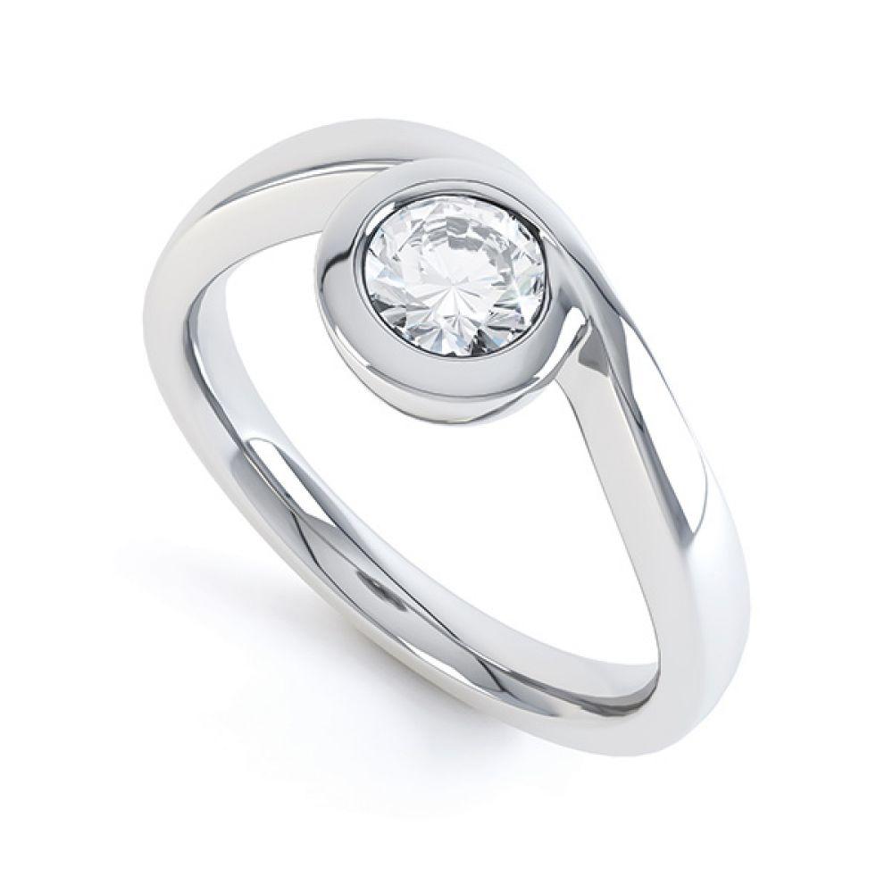 Asymmetrical Full Bezel Diamond Engagement Ring