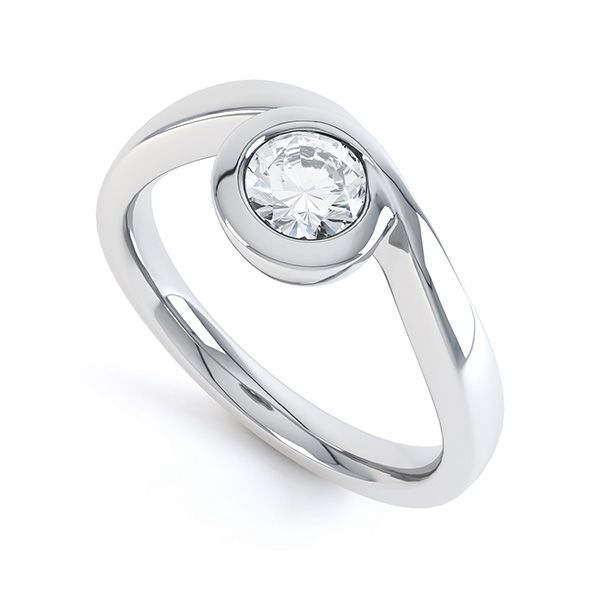 Asymmetrical Full Bezel Diamond Engagement Ring Main Image