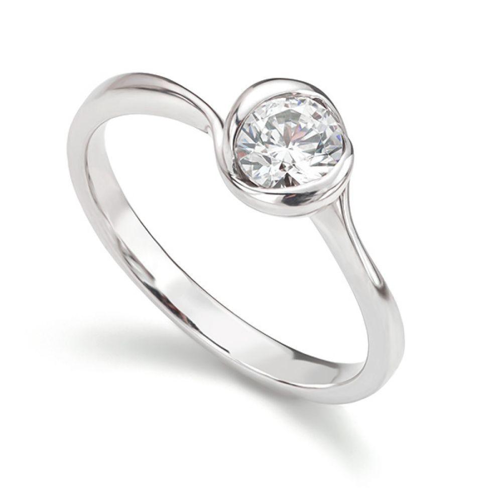 Rosebud Round Solitaire Engagement Ring Platinum 0.50cts
