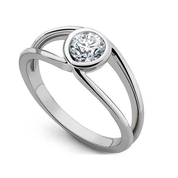 Infinity Double Shoulder Diamond Solitaire Ring Main Image